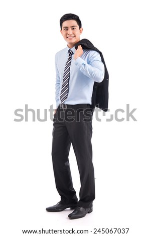 Portrait of successful businessman. Asian man in suit with tie - isolated over a white background. Full length portrait of a excited young executive posing. Asian handsome entrepreneur - stock photo