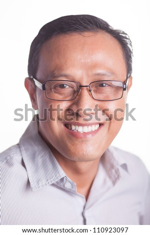 Portrait of successful businessman isolated on white - stock photo