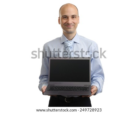 Portrait of successful businessman with laptop. Isolated on white - stock photo