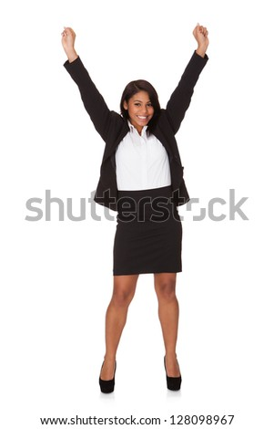 Portrait Of Successful Businesswoman. Isolated on white - stock photo