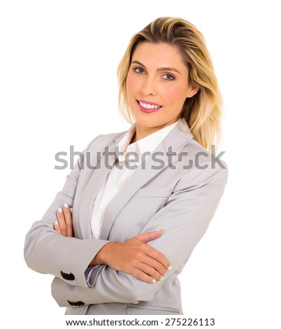 portrait of successful businesswoman with arms folded - stock photo