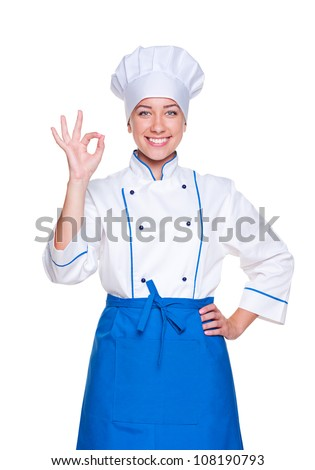 portrait of successful cook in uniform over white background - stock photo