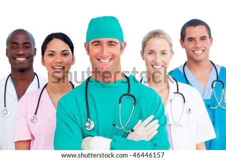 Portrait of successful medical team against a white background - stock photo