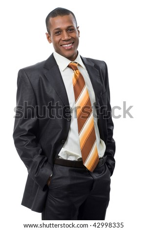 Portrait of successful professional in black suit looking at camera and smiling - stock photo