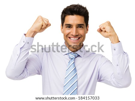 Portrait of successful young businessman isolated over white background. Horizontal shot. - stock photo