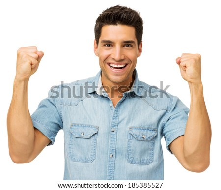 Portrait of successful young man isolated over white background. Horizontal shot. - stock photo