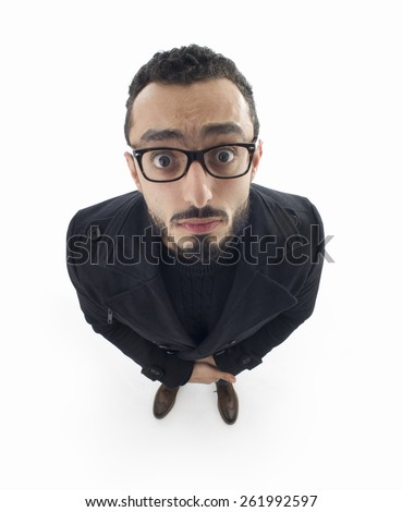 portrait of surprised man in wide angle shot  - stock photo