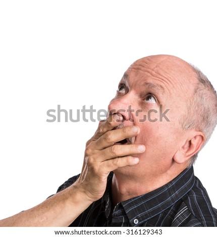 Portrait of surprised senior man on white background  - stock photo