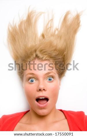 Portrait of surprised woman - stock photo