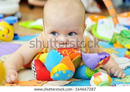portrait of sweet blue-eyed baby - stock photo