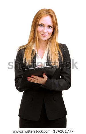 Portrait of teacher woman with clipboard, isolated on white - stock photo