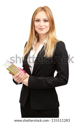 Portrait of teacher woman with notebooks, isolated on white - stock photo