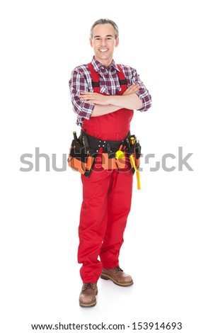 Portrait of technician worker isolated on white background - stock photo