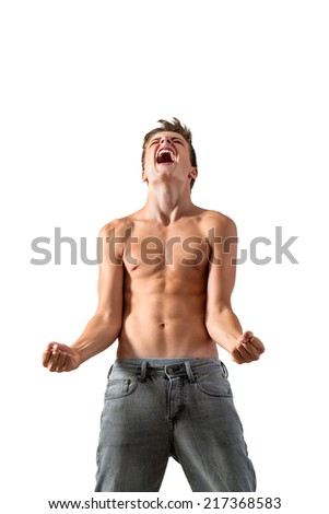 Portrait of Teen boy screaming of frustration.Isolated on white background. - stock photo