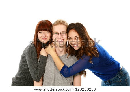 portrait of 3 teens blond,brunette,redhead isolated on white - stock photo
