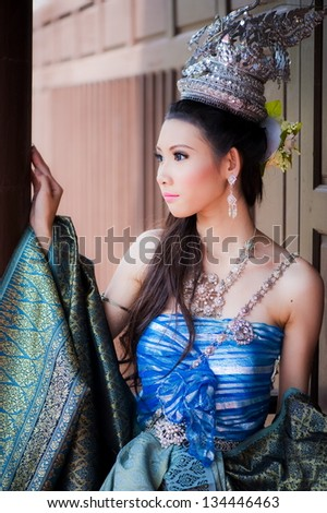 Portrait of Thai women with traditional dress - stock photo