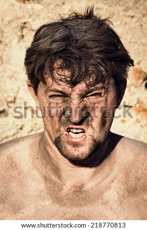 portrait of the angry miner - stock photo