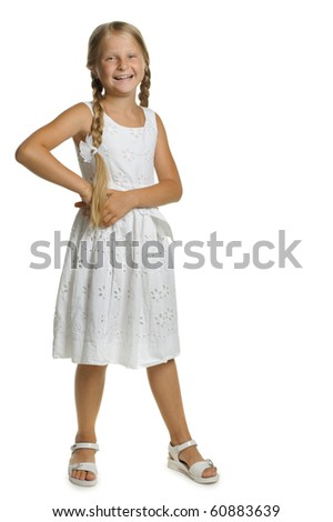 Portrait of the attractive girl standing. It is isolated on a white background - stock photo