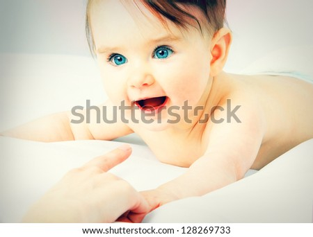 Portrait of the baby close up - stock photo