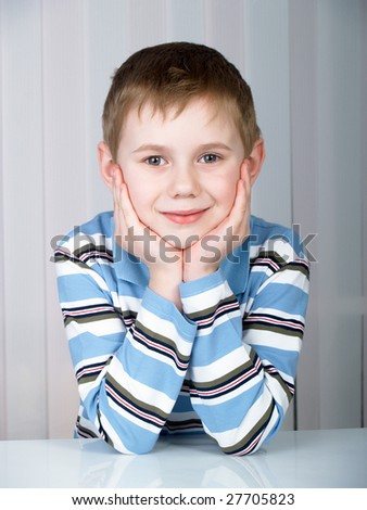 Portrait of the beautiful boy - stock photo