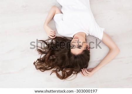 Portrait of the beautiful girl - stock photo