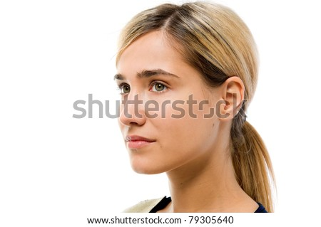 Portrait of the beautiful woman. Looking to the left side. Face without cosmetic - stock photo
