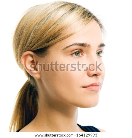 Portrait of the beautiful woman. Looking to the right side. Face without cosmetic - stock photo