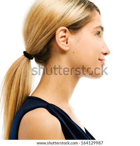 Portrait of the beautiful woman. Profile. Face without cosmetic - stock photo