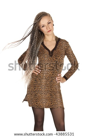 Portrait of the beautiful young woman with braids on a white background - stock photo