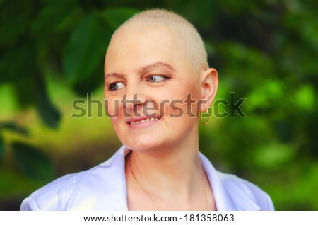 Portrait of the breast cancer survivor with positive attitude. - stock photo