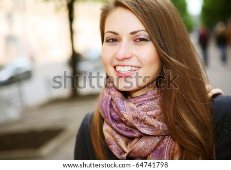Portrait of the city girl. Summer day. - stock photo