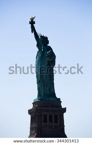 portrait of the city New York places and famous places Statue of Liberty - stock photo