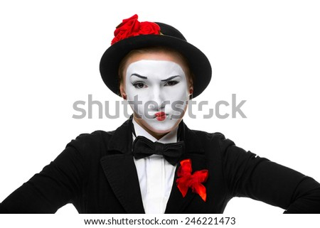 Portrait of the doubting woman as mime with dissatisfaction with a grimace on his face isolated on white background. Concept of  doubts - stock photo