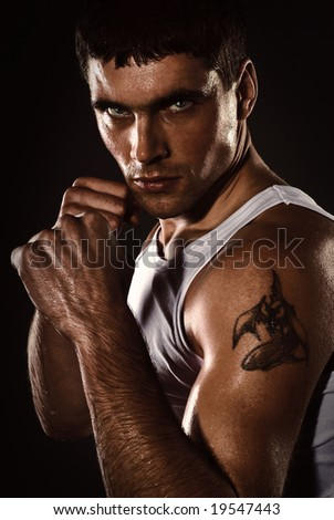 portrait of the fighter - stock photo