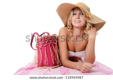 Portrait of the girl in beach hat - stock photo