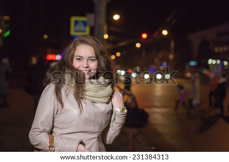 Portrait of the girl in the street night city - stock photo