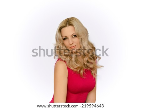 portrait of the girl of the blonde  - stock photo