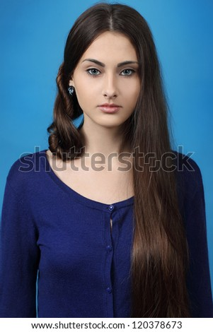 portrait of the girl with long beautiful hair - stock photo