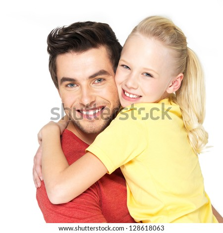 Portrait of the happy young father with pretty daughter -  isolated on white background - stock photo