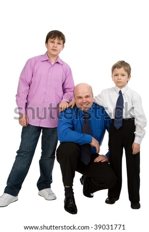 portrait of the man with his sons isolated on white background - stock photo
