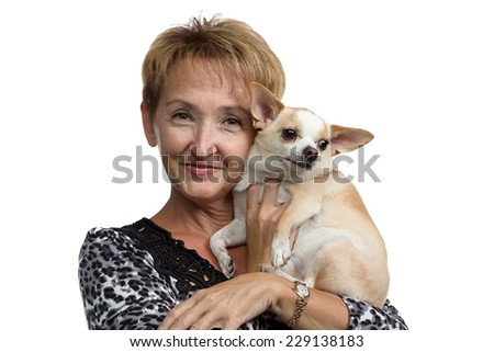 Portrait of the old woman with the dog on white background - stock photo