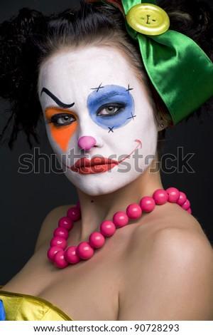 Portrait of the sad mime - stock photo