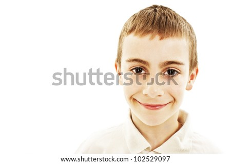 Portrait of the smiling boy. Isolated on white background. - stock photo