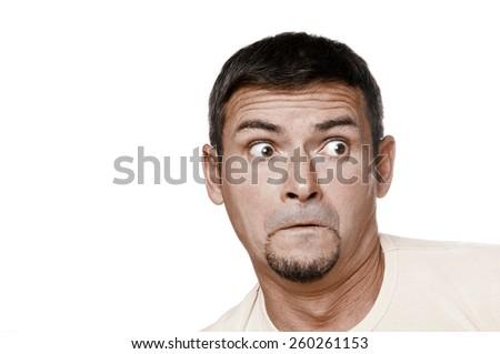 Portrait of the surprise man - stock photo