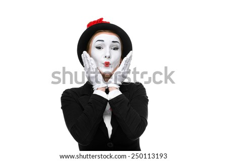 Portrait of the surprised and touched woman as mime isolated on white background. Concept of touched - stock photo