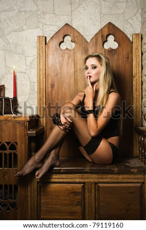 Portrait of the very pretty woman vamp - stock photo