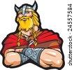 Portrait of the Viking, cartoon illustration - stock photo