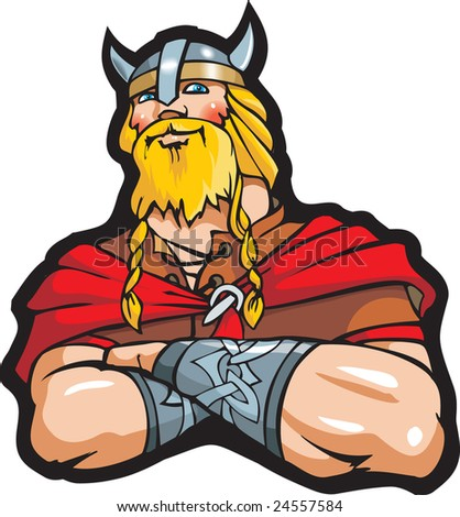 Portrait of the Viking, cartoon illustration - stock photo