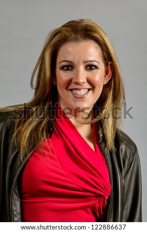 portrait of the woman in red - stock photo