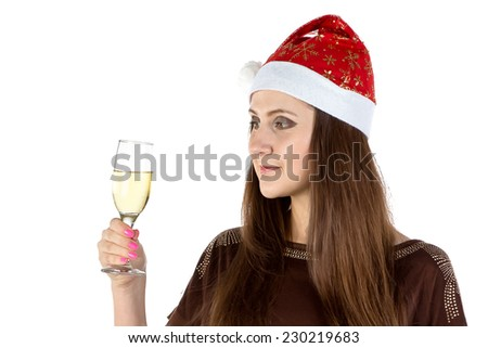 Portrait of the woman with glass of champagne on white background - stock photo